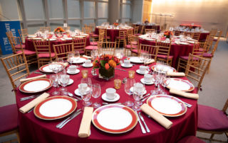 Kelly Skylight Room - Flexible Event Space in NYC. Tables set up for a corporate event - formal dinner.