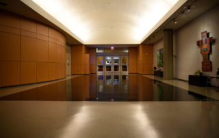 Elebash Recital Hall - Theater Rental in NYC. Lobby area for conference registration, breakfast, or post-event reception.
