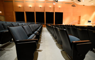 Elebash Recital Hall - Theater Rental in NYC. Gently raked seating accommodates 180.