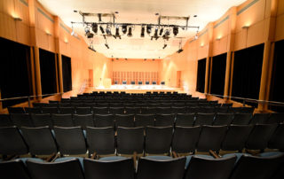 Elebash Recital Hall - Theater Rental in NYC. View from back of recital hall - stage and seating.